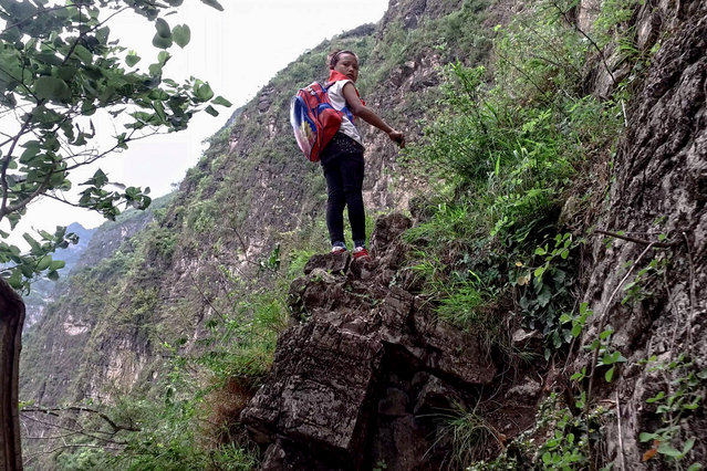 In this May 14, 2016 photo, a child wearing her school backpack takes a rest on a cliff as she and other children return home from school in Zhaojue county, southwest China's Sichuan province. (Photo by Chinatopix via AP Photo)
