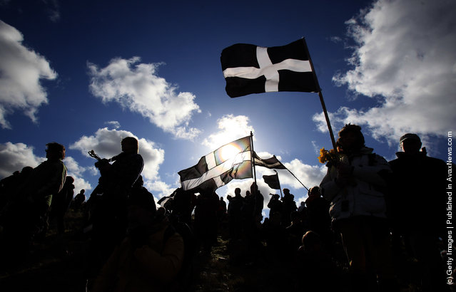 Crowds gather to watch the annual processional play to celebrate St. Piran, patron saint of tinners and regarded by many as Cornwall's premier saint