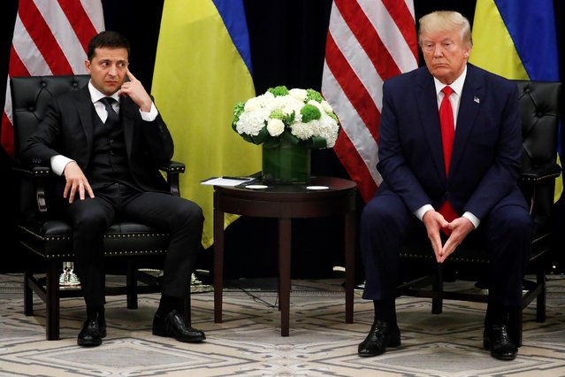 Ukraine's President Volodymyr Zelenskiy speaks as he and U.S. President Donald Trump hold a bilateral meeting on the sidelines of the 74th session of the United Nations General Assembly (UNGA) in New York City, New York, U.S., September 25, 2019. (Photo by Jonathan Ernst/Reuters)