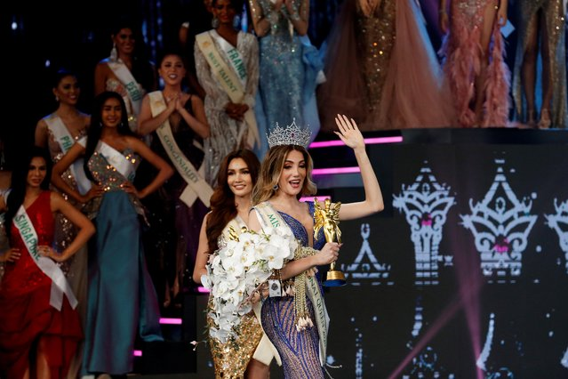 Mexico's Valentina Fluchaire waves after winning crown at the final show of the Miss International Queen 2020 transgender beauty pageant in Pattaya, Thailand on March 7, 2020. (Photo by Soe Zeya Tun/Reuters)