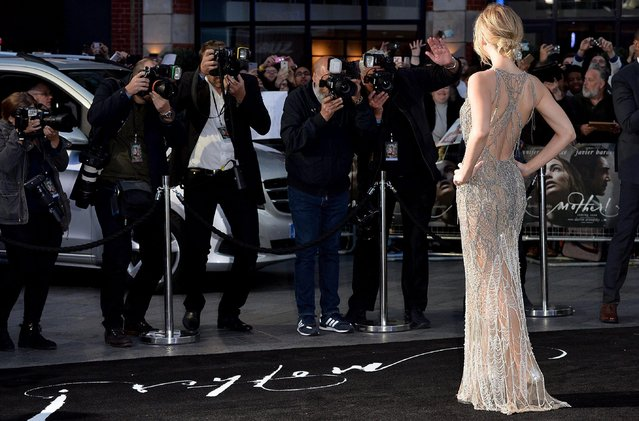 """Jennifer Lawrence attends the """"Mother!"""" UK premiere at Odeon Leicester Square on September 6, 2017 in London, England. (Photo by Fred Duval/FilmMagic)"""