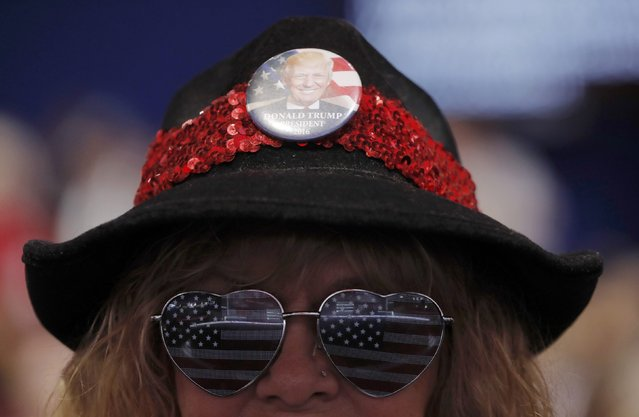 A convention attendee sports a button on her hat supporting Republican U.S. presidential candidate Donald Trump at the Republican National Convention in Cleveland, Ohio, U.S., July 18, 2016. (Photo by Brian Snyder/Reuters)