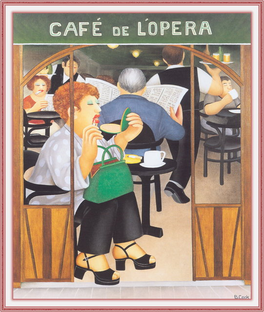 Cafe de L'Opera. Artwork by Beryl Cook