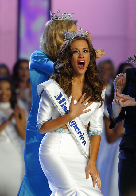 Betty Cantrell of Georgia reacts after being named Miss America 2016, Sunday, September 13, 2015, in Atlantic City, N.J. (Photo by Noah K. Murray/AP Photo)