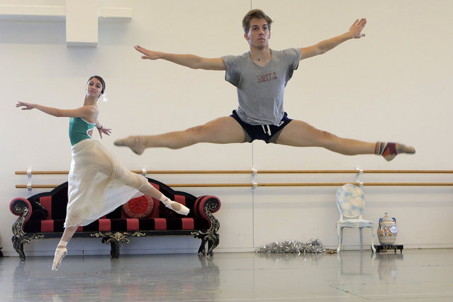 In a Friday, November 17, 2017 photo, members of the Houston Ballet rehearse the Nutcracker at their studio, in Houston. The company will have to hold their performance at Smart Financial Centre and the Hobby Center this year, and giving 10 less performances than usual, because its home stage at the Wortham Theater Center was destroyed by Hurricane Harvey. (Photo by Elizabeth Conley/Houston Chronicle via AP Photo)