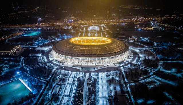 An aerial view taken with a drone shows Luzhniki Stadium in Moscow on January 24, 2018. Luzhniki Stadium will host seven matches including the final of the 2018 FIFA World Cup football tournament. (Photo by Dmitry Serebryakov/AFP Photo)