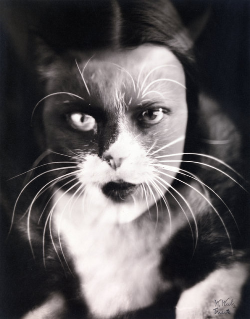 """Io + gatto"" by Wanda Wulz, 1932. Wulz, a portrait photographer loosely associated with the Italian Futurist movement, created this striking composite by printing two negatives – one of her face, the other of the family cat – on a single sheet of photographic paper, evoking by technical means the seamless conflation of identities that occurs so effortlessly in the world of dreams. (Photo courtesy of The Metropolitan Museum of Art)"