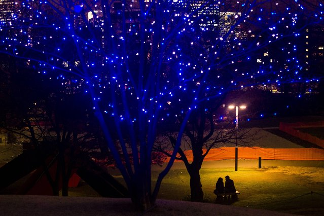 A couple sits under a street lamp in a park near Christmas lights in central Tokyo, December 12, 2014. (Photo by Thomas Peter/Reuters)