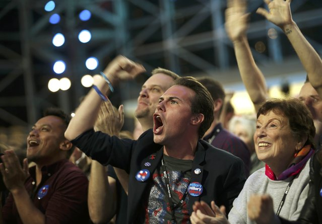 Supporters of Democratic presidential nominee Hillary Clinton cheer at her election night rally in New York, U.S., November 8, 2016. (Photo by Carlos Barria/Reuters)