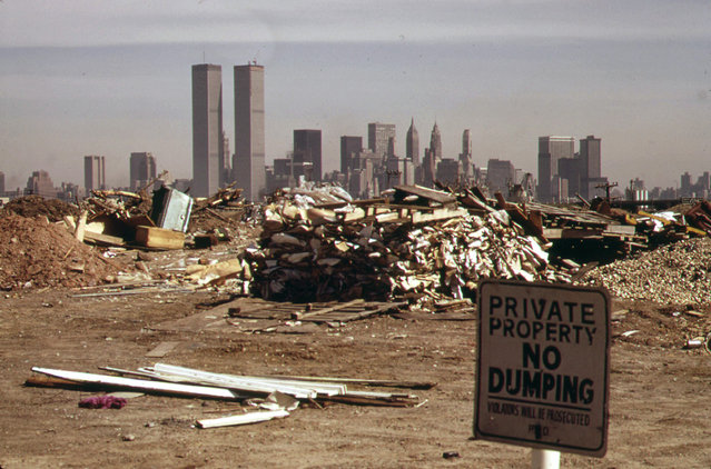 Despite warning signs, illegal dumping continues in this area just off the New Jersey Turnpike facing Manhattan in March of 1973. (Photo by Gary Miller/NARA via The Atlantic)