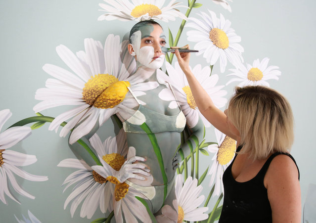 Model Daisy Lowe has been camouflaged into a wall of daisies by world-leading body paint artist Carolyn Roper, to showcase the Samsung QLED TV's Ambient Mode feature in London, United Kingdom on August 2, 2018. The work took eight hours to complete. (Photo by Matt Alexander/PA Wire)