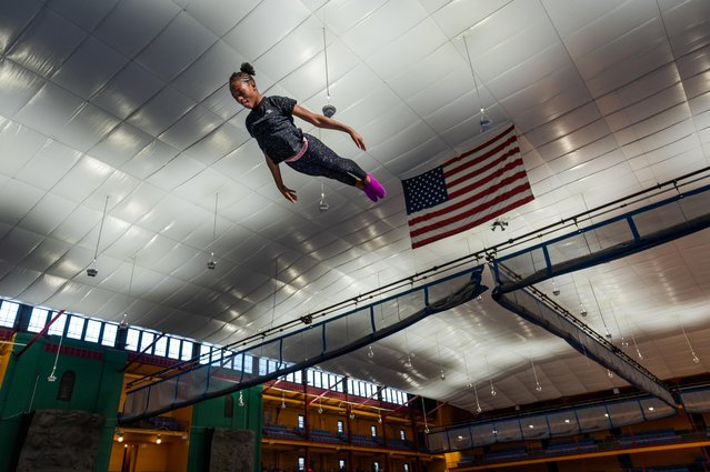 Gymnast Ty-La Morris, 12, trains at the Wendy Hilliard Gymnastics Foundation, which offers free and discounted classes for children in Detroit and in New York, in New York, U.S., February 22, 2020. (Photo by Idris Solomon/Reuters)