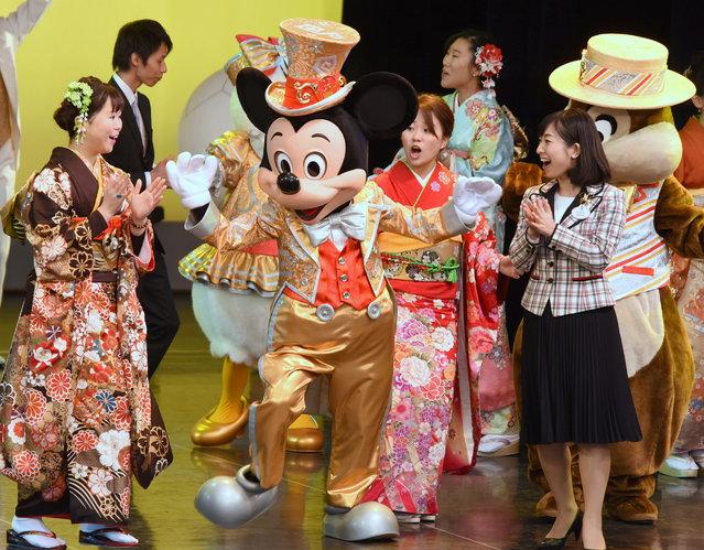 Women attend Coming-of-Age Day ceremony at Tokyo Disney Land ,11 January 2016. (Photo by Satoko Kawasaki)