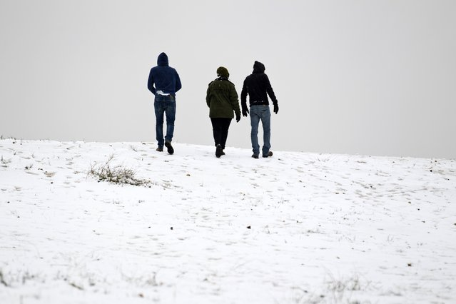 People walk on the snow-covered ground in the southern Israeli city of Arad February 20, 2015. (Photo by Amir Cohen/Reuters)