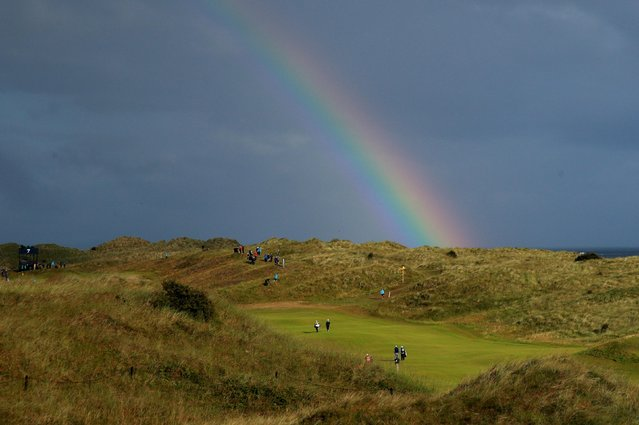 A rainbow during the first round of the British Open at Royal Portrush Golf Club, Northern Ireland on July 18, 2019. (Photo by Ian Walton/Reuters)
