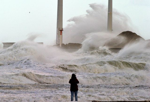 A person watches  waves battering the coast  on November 3, 2013 in the Channel port of Boulogne-sur-mer, France. (Photo by Philippe Huguen/AFP Photo)