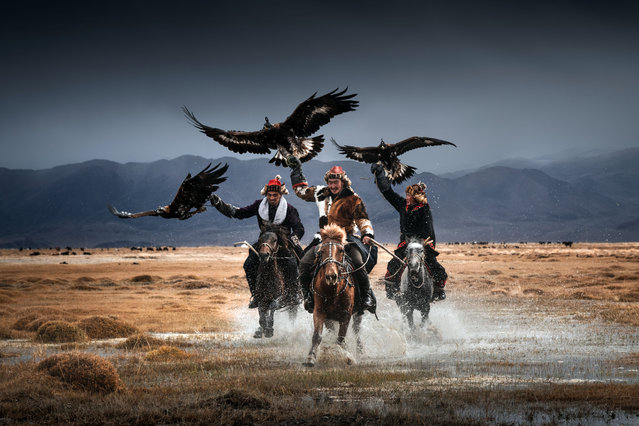 These stunning photographs of the world's last remaining Mongolian eagle keepers show the incredible bond between man and bird. (Photo by Daniel Kordan/Caters News Agency)