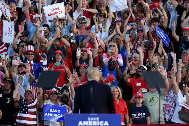 Former U.S. President Trump holds his first post-presidency campaign rally at the Lorain County Fairgrounds in Wellington, Ohio, U.S., June 26, 2021. (Photo by Gaelen Morse/Reuters)