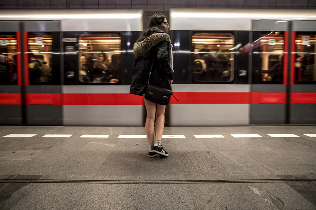 "Young people wearing no pants participate in the ""No Pants Subway Ride"" in Prague, Czech Republic, 13 January 2019. No Pants Subway Ride is an annual global event started in New York, USA in 2002. (Photo by Martin Divisek/EPA/EFE)"