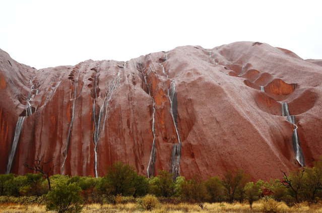 A general view of Uluru is seen as it rains on November 28, 2013 in Uluru-Kata Tjuta National Park, Australia. Uluru/ Ayers Rock is a large sandstone formation situated in central Australia approximately 335km from Alice Springs. The site and its surrounding area is scared to the Anangu people, the Indigenous people of this area and is visited by over 250,000 people each year.  (Photo by Mark Kolbe/Getty Images)