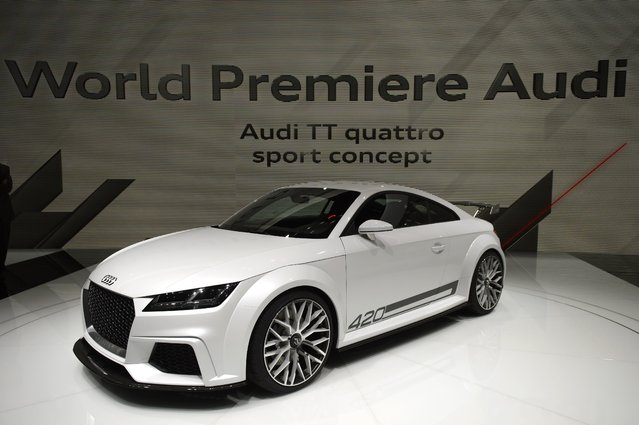The new Audi TT quattro sport concept is on display  at the 84.  Geneva International Motor Show in Geneva, Switzerland, Tuesday, March 4, 2014. (Photo by Martial Trezzini/AP Photo/Keystone)