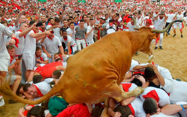 A heifer bull jumps over participants in the bullring after the second bullrun the San Fermin festival in Pamplona, northern Spain on July 8, 2019. On each day of the festival six bulls are released at 8:00 a.m. (0600 GMT) to run from their corral through the narrow, cobbled streets of the old town over an 850-meter (yard) course. Ahead of them are the runners, who try to stay close to the bulls without falling over or being gored. (Photo by Ander Gillenea/AFP Photo)