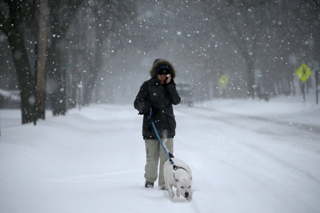 A woman walks her dog during a snowstorm along a snow covered Broadway in the village of Nyack, a northern suburb of New York City, U.S., March 14, 2017. (Photo by Mike Segar/Reuters)