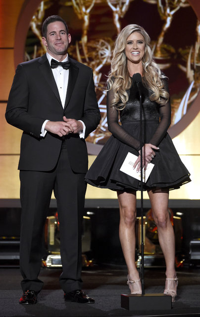 Tarek El Moussa, left, and Christina El Moussa present the award for outstanding entertainment news program at the 44th annual Daytime Emmy Awards at the Pasadena Civic Center on Sunday, April 30, 2017, in Pasadena, Calif. (Photo by Chris Pizzello/Invision/AP Photo)