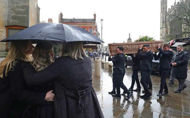 The coffin arrives for the funeral of London Bridge terror attack victim Jack Merritt at Great St Mary's Church in Cambridge, England on December 20, 2019. (Photo by Aaron Chown/PA Images via Getty Images)