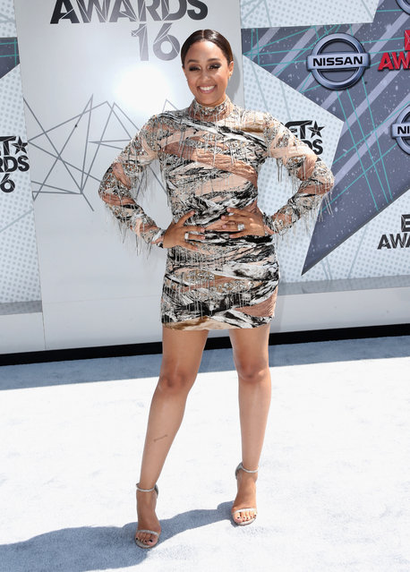 Actress Tia Mowry attends the 2016 BET Awards at the Microsoft Theater on June 26, 2016 in Los Angeles, California. (Photo by Frederick M. Brown/Getty Images)