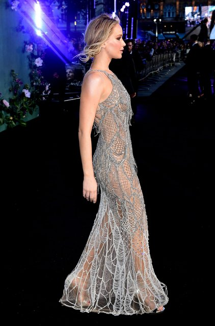 """Jennifer Lawrence attends the """"Mother!"""" UK premiere at Odeon Leicester Square on September 6, 2017 in London, England. (Photo by PA Wire)"""