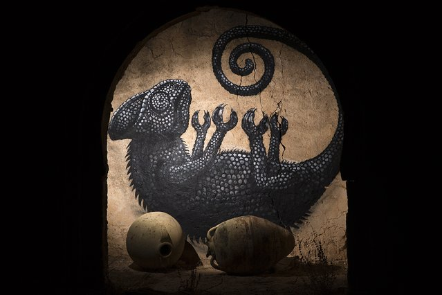 """A mural by Belgian artist ROA decorates a wall in the surrounding area of the village of Erriadh, on the Tunisian island of Djerba, on August 6, 2014, as part of the artistic project """"Djerbahood"""". Artists from 34 diffrents nationalities were invited by France-based Tunisian artist Mehdi Ben Cheikh to take part in an initiative to turn Djerba's Erriadh district into an """"open sky museum"""". (Photo by Joel Saget/AFP Photo)"""