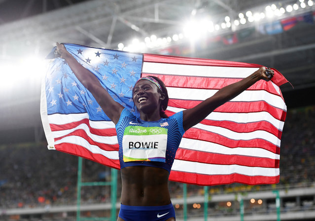Tori Bowie of the United States celebrates after the Women's 100m Final on Day 8 of the Rio 2016 Olympic Games at the Olympic Stadium on August 13, 2016 in Rio de Janeiro, Brazil. (Photo by Shaun Botterill/Getty Images)