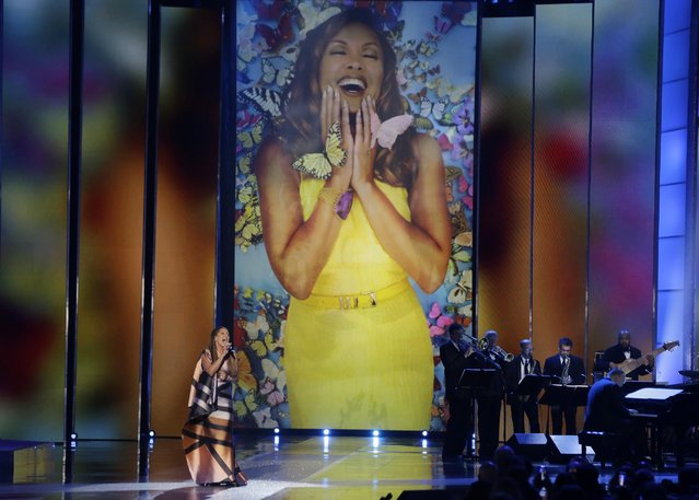 Actress and singer Vanessa Williams sings during in the 2016 Miss America pageant, Sunday, September 13, 2015, in Atlantic City, N.J. Williams is returning to the pageant as head judge for the first time in more than three decades since she resigned the title. (Photo by Mel Evans/AP Photo)