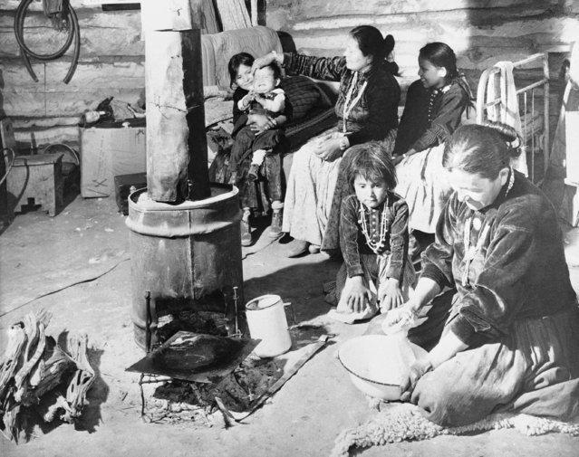 Typical Navajo home at Window Rock, Arizona, June 3, 1945 reflects the squalor and overcrowding of the Indians living conditions. (Photo by AP Photo)