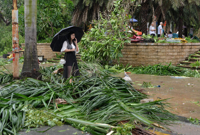 A woman stands amid downed tree branches on a street in Xiamen, China's eastern Fujian province, after Typhoon Meranti made landfall on September 15, 2016. Typhoon Meranti made landfall in Fujian early September 15 with winds up to 230kph, knocking out electricity in some areas and causing rail delays. (Photo by AFP Photo/Stringer)