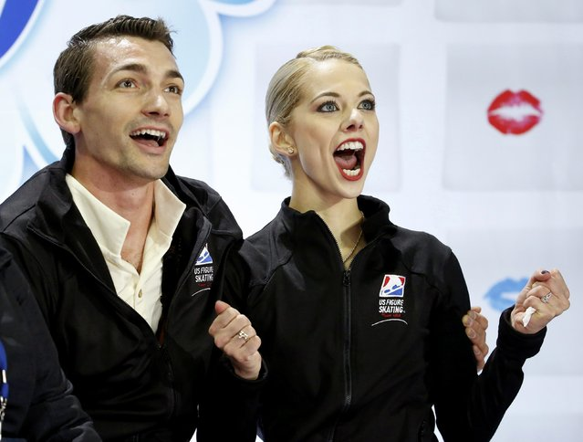 Alexa Scimeca of the U.S. reacts to the judges' scoring with her partner and compatriot Chris Knierim following their pairs free skate program performance at the Skate America figure skating competition in Milwaukee, Wisconsin October 24, 2015. (Photo by Lucy Nicholson/Reuters)
