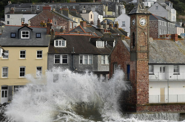 Large waves hit the sea wall with the arrival of Storm Ellen, in Kingsand, Cornwall, south west Britain, August 21, 2020. (Photo by Toby Melville/Reuters)