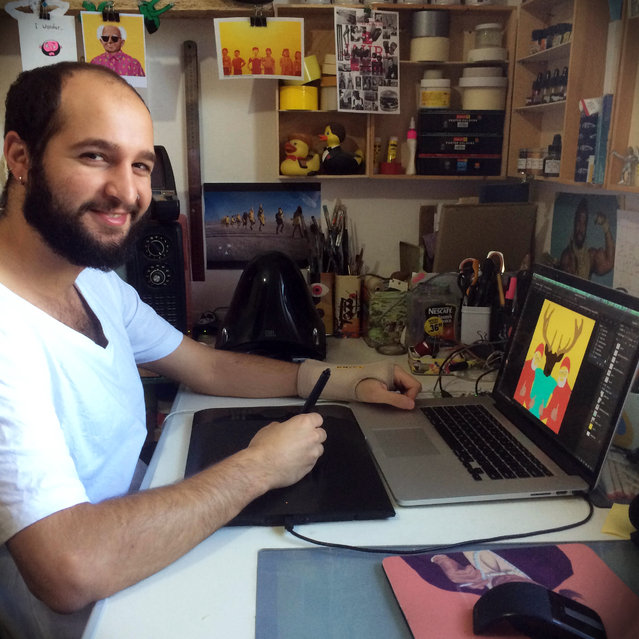 Artist, Amit Shimoni in his studio. (Photo by Amti Shimoni/Caters News)