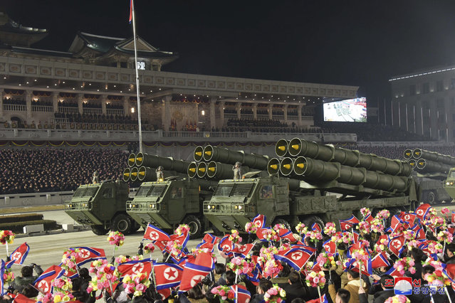 This photo provided by the North Korean government shows a military parade marking the ruling party congress, at Kim Il Sung Square in Pyongyang, North Korea Thursday, January 14, 2021. (Photo by Korean Central News Agency/Korea News Service via AP Photo)