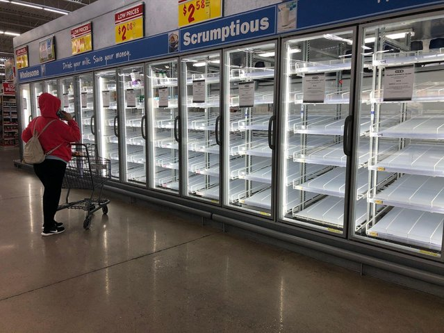 A shopper at an H-E-B Plus! supermarket faces empty shelves in the Flour Bluff neighborhood of Corpus Christi, Texas, February 18, 2021. (Photo by Courtney Sacco/Caller-Times/USA Today Network via Reuters)