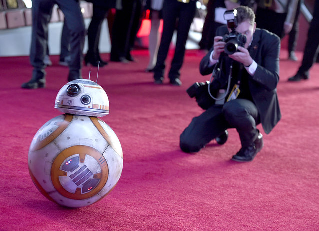 "Film character BB-8 arrives at the world premiere of ""Star Wars: The Force Awakens"" at the TCL Chinese Theatre on Monday, December 14, 2015, in Los Angeles. (Photo by Jordan Strauss/Invision/AP Photo)"