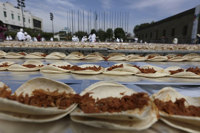 Tacos of Cochinita Pibil, a popular dish from Yucatan, are seen during an attempt to break the Guinness World Record for the world's longest taco in Guadalajara February 15, 2015. (Photo by Alejandro Acosta/Reuters)