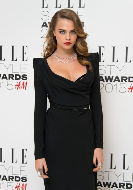 Cara Delevingne attends the Elle Style Awards 2015 at Sky Garden @ The Walkie Talkie Tower on February 24, 2015 in London, England. (Photo by Ian Gavan/Getty Images)