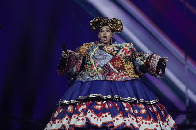 Manizha from Russia performs at the first semi-final of the Eurovision Song Contest at Ahoy arena in Rotterdam, Netherlands, Tuesday, May 18, 2021. (Photo by Peter Dejong/AP Photo)
