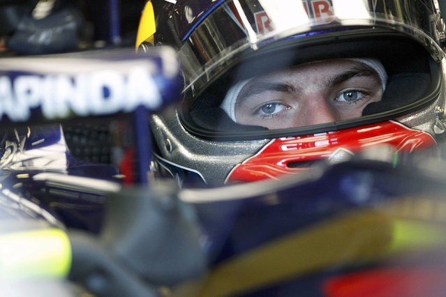 Toro Rosso Formula One driver Max Verstappen of the Netherlands sits in his car during the second practice session of the Australian F1 Grand Prix at the Albert Park circuit in Melbourne March 13, 2015. REUTERS/Brandon Malone