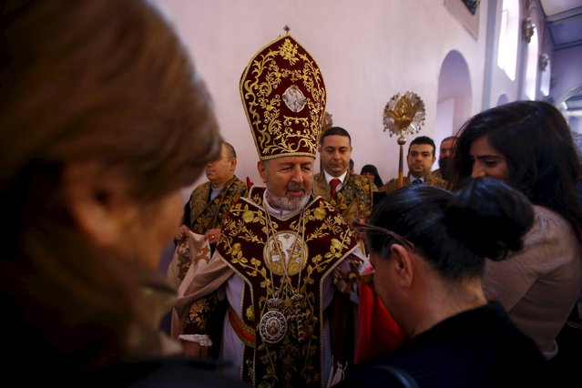 Archbishop Aram Atesyan, General Vicar of Armenian Patriarch in Turkey leads an Easter service at the Surp Asdvadzadzin Patriarchal Church in Istanbul April 5, 2015. (Photo by Osman Orsal/Reuters)