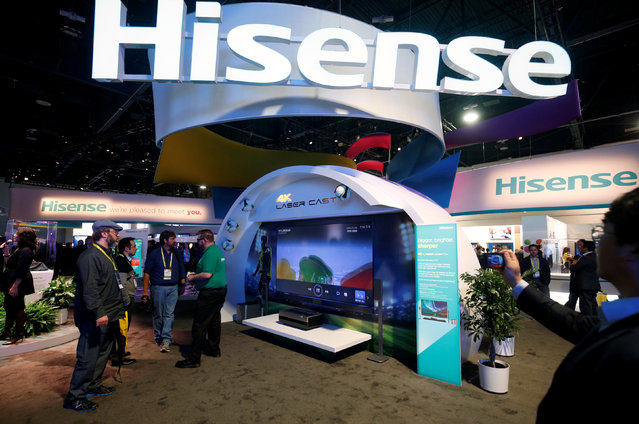 A 100-inch, Hisense 4K Laser Cast television is displayed during the 2017 CES in Las Vegas, Nevada January 5, 2017. (Photo by Steve Marcus/Reuters)