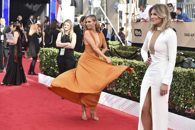 Keltie Knight, left, and Charissa Thompson arrive at the 23rd annual Screen Actors Guild Awards at the Shrine Auditorium & Expo Hall on Sunday, January 29, 2017, in Los Angeles. (Photo by Jordan Strauss/Invision/AP Photo)