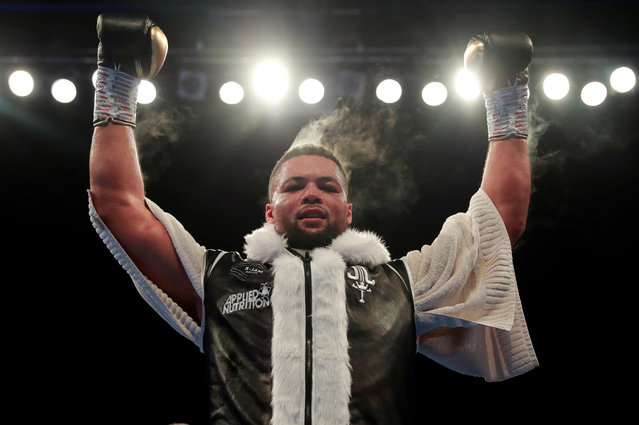 Joe Joyce MBE celebrates beating Alexander Ustinov during the International Heavyweight Contest at The Lamex Stadium on May 18, 2019 in Stevenage, England. (Photo by Andrew Couldridge/Reuters)